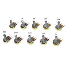 10pcs WH148 Linear Potentiometer 15mm Shaft With Nuts And Washers 3pin WH148 B1K B2K B5K B10K