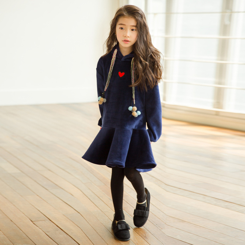 Girls Dress Autumn 2018 New Baby Princess Dress Velvet Kids Ruffles Dress Children Thickened Dress Toddler Winter Clothes,#3248 korean version of the girls winter velvet dress children s lace dress princess dress new child dress age from 3 9t