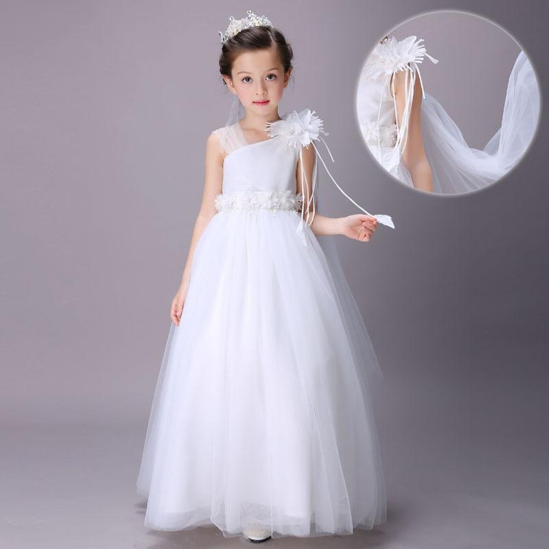 f0856e8135 2019 New White Princess Dress Children Sleeveless Dress Embroidered Wedding  Floor Length Dresses Girls Party Dress Kids Elegant