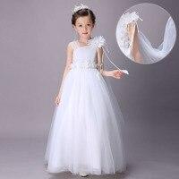 2019 New White Princess Dress Children Sleeveless Dress Embroidered Wedding Floor Length Dresses Girls Party Dress Kids Elegant