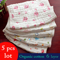 5 unids/lote, 6 capas de gasa de algodón baberos 30*30 Bebé Recién Nacido Bebé de Dibujos Animados Cara Toalla de Mano Toallas Cuadrados Pañuelo Baberos de Alimentación