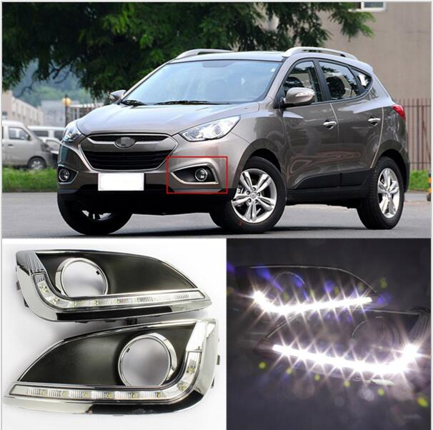 Free Shipping For Hyundai Ix35 2010 2011 2012 2013 LED DRL Daytime Running Lights With Wire Of Harness With Gift for skoda superb 2008 2009 2010 2011 2012 2013 new led drl daytime running light fog light with wire of harness and gift