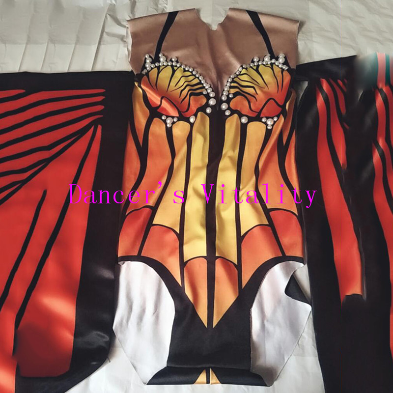 Butterfly wings printing Bodysuit Women Stage Dance Leotard Nightclub Party Female Singer Costume Celebrate Outfit costumes in Chinese Folk Dance from Novelty Special Use