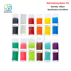 100pcs 100mm Self-locking Nylon Cable Ties Plastic Zip Tie Fasten Cable Binding Wrap Straps 12 Color 2.5mm*100mm