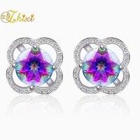 ZHIXI 925 Sterling Silver Earrings Fine Jewelry Rainbow Mystic Natural Topaz Stud Earrings Trendy Gift For