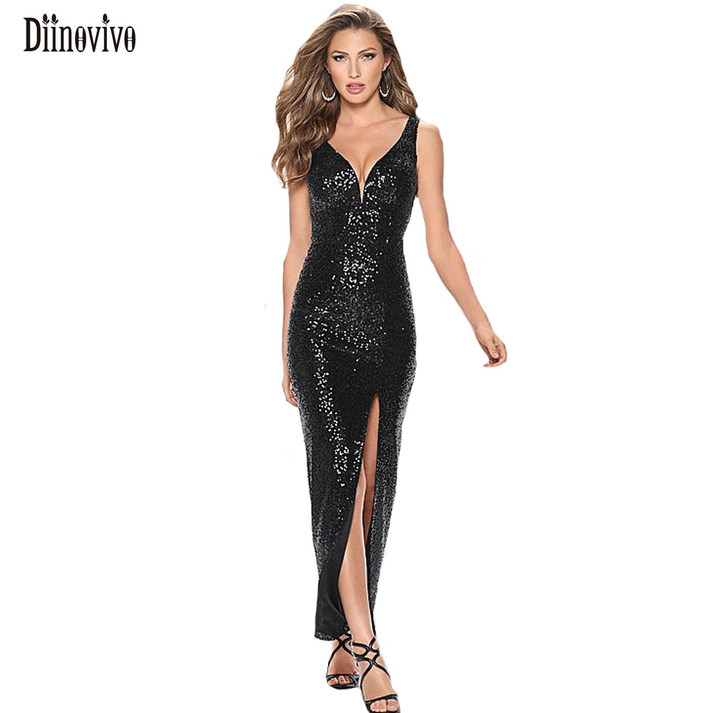 Buy Cheap Vestidos New Arrival Fashion Sequins Sexy Front Back Deep V-Neck Bodycon Evening Maxi Dress Split Sheath Party long Dresses 329