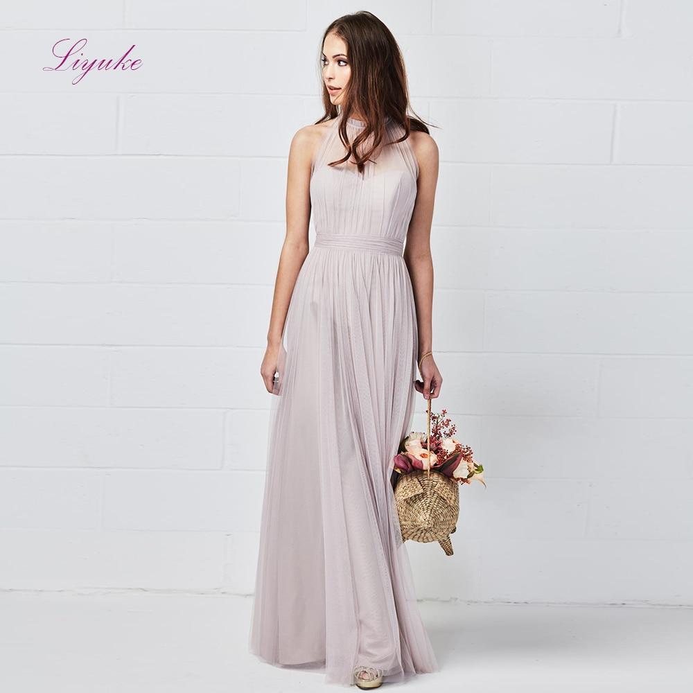 Liyuke une ligne robe de demoiselle d'honneur longue robe drapée licou Tulle avec nœud papillon ceintures sur mesure taille livraison gratuite