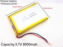Bateria de polímero de lítio 126090 v, bateria 3.7 mah diy para emergência de celular, bateria de tesouro carregamento de energia