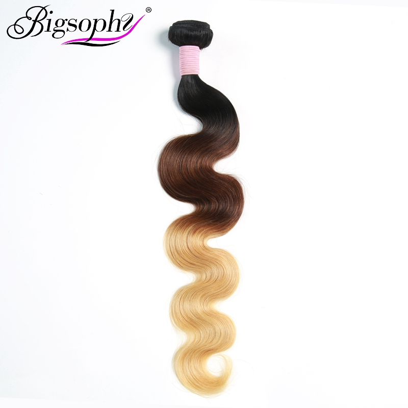 "Bigsophy Peruvian Hair Weave Bundles Human Hair Body Wave 10""-28"" 3 Tone 1B/4/27 Ombre Remy Hair Extensions Can Buy 3/4 Bundles"