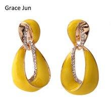 Grace Jun 2017 New Arrival Big Statement  Rhinestone Enamel Geometric Hollow-out Clip on Earrings No Pierced Elegant Ear Clip