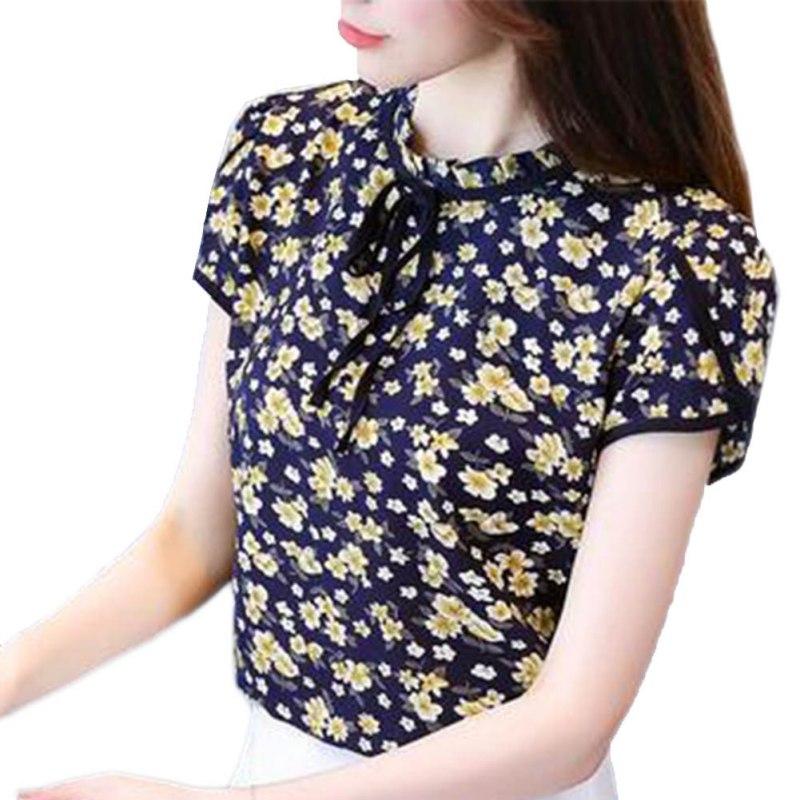 Floral Print Women Chiffon Blouse Ruffle Collar Bow Neck Shirt Petal Short Sleeve Summer Chiffon Tops Femininas Blusas Plus Size