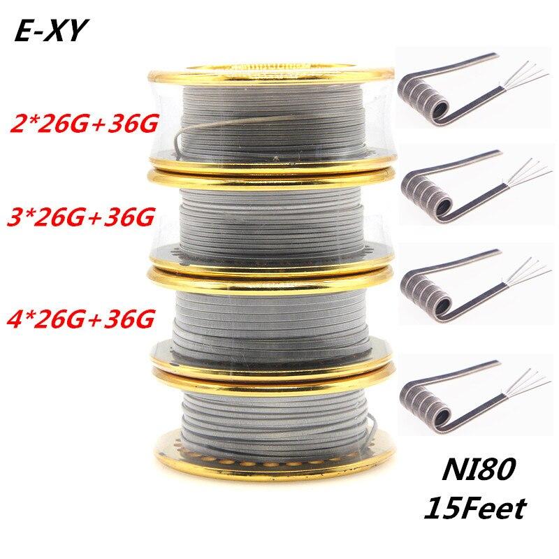 E-XY Heißer 5 mt/rolle NI80 Verschmolzen Clapton Heizung Draht Doppel/Tri/Vier Core Holt Zerstäuber Heizung drähte für RDA RBA DYI Spule