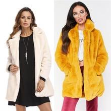Пальто с мехом Зимние женские смесь пальто пушистого искусственного меха теплая верхняя одежда пальто куртка с длинными рукавами карманов