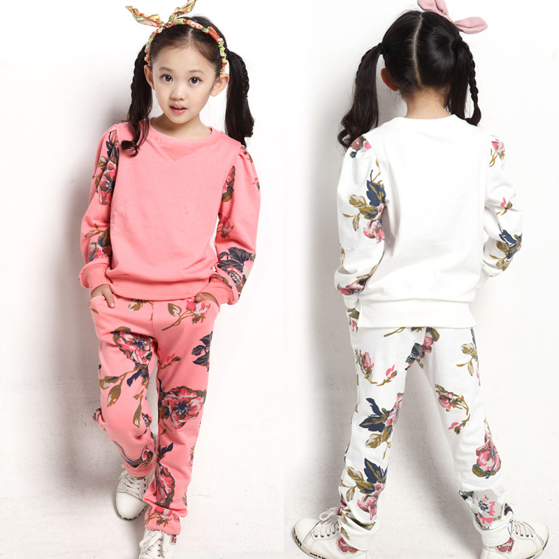 Free shipping Children's clothing spring/autumn girl leisure flower pattern girl suit long-sleeve sweatshirt+pants set free shipping children s clothing spring autumn girl leisure flower pattern girl suit long sleeve sweatshirt pants set
