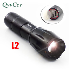 Poweful flashlight Built-in USB Charger L2 Torch Light lamp for Hiking Camping Fishing Rechargeable Torch flash light