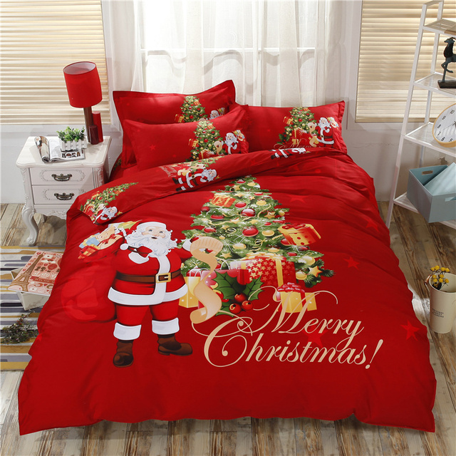 100 Cotton Marry Christmas Bedding Set Gift Printed Sheet Pillowcase And Duvet