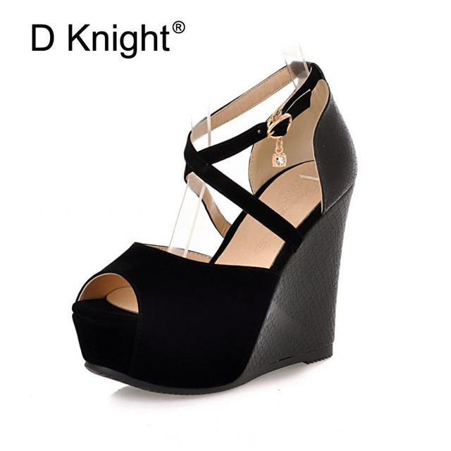 Sexy Open Toe Cross Strap Platform High Heels Sandals Fashion Ankle Strap Wedges Gladiator Sandals Ladies Summer Wedges Shoes