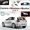 3in1 Especial WiFi Cámara + Receptor Inalámbrico + Monitor Del Espejo DIY Fácil Sistema de Aparcamiento Para BMW serie 1 E81 E87
