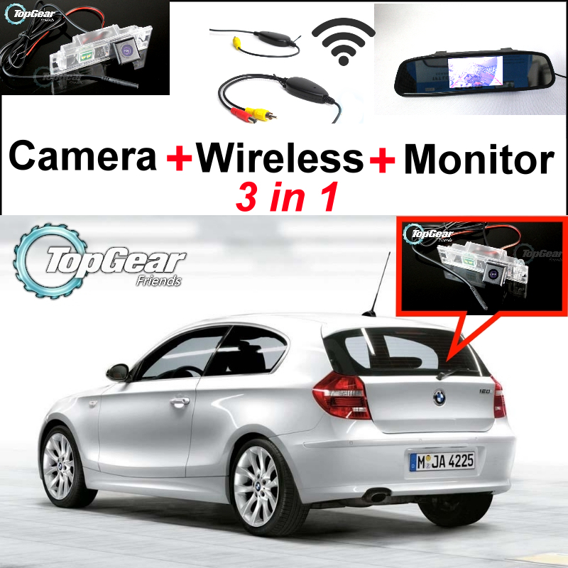 3in1 Special WiFi Camera + Wireless Receiver + Mirror Monitor Easy DIY Parking System For BMW 1 E81 E87 wireless pager system 433 92mhz wireless restaurant table buzzer with monitor and watch receiver 3 display 42 call button