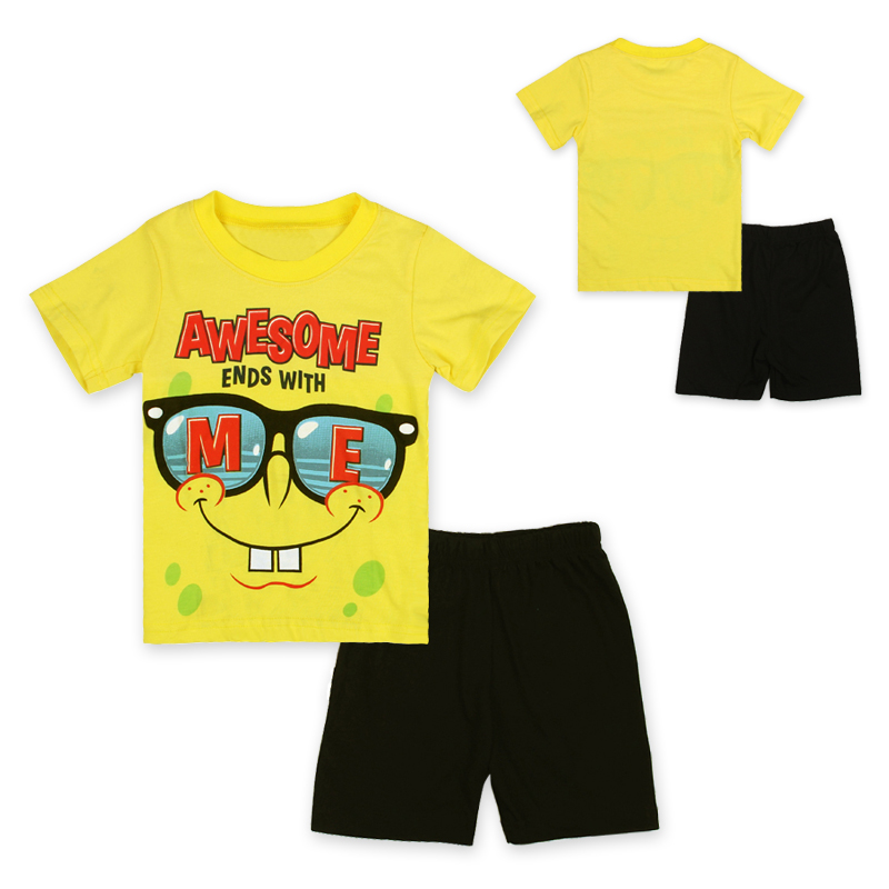16cd68a771 children boys clothing set Adorable Cartoon Spongebob pajamas costume baby  kids child cartoon clothes sets suits