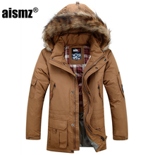 Aismz Men's Thick Warm Winter Soft Coats Male down jacket Fine Medium-Long Multi-pocket Duck coat Military jackets Men Parkas