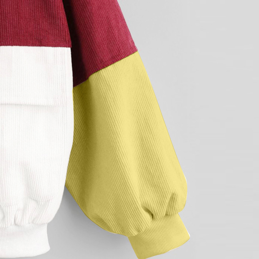 HTB1XKN2LMHqK1RjSZFPq6AwapXas Bella Philosophy Long Sleeve Corduroy Women jacket Spring women Jacket plus size women Zipper female coat color block Patchwork