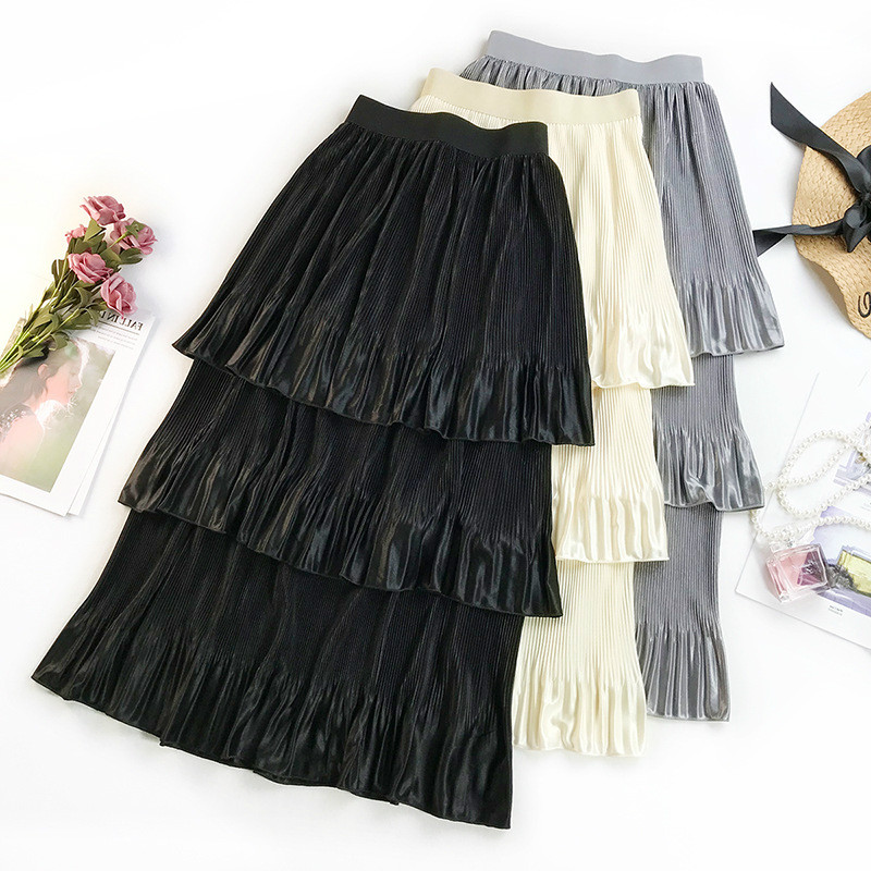 974ac62003a Detail Feedback Questions about AcFirst Spring Pink Black New Women Skirts  Fashion Women s High Waist Pleated Skirt Ankle Length Long Skirt Clothing  Layered ...