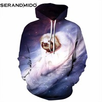 SERANDMIDO Fashion Men Women 3d Hoodie Sweatshirt Print Galaxy Dog Whirlpool Nebula Casual Hoody Unisex Pullovers