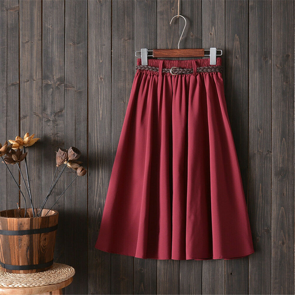 2019 New Fashion Style Women Elegant Summer Solid Drape Stretch High Waist A-Line Mid-Calf Belt Skirt