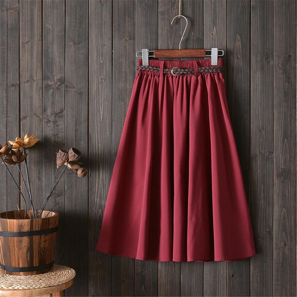 2019 New Fashion Style Women Elegant Summer Winter Solid Drape Stretch High Waist A-Line Mid-Calf Belt Skirt