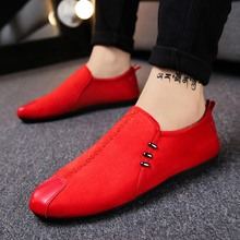 Spring male peas shoes casual Korean version of the trend social spirits guys tide lazy one foot red