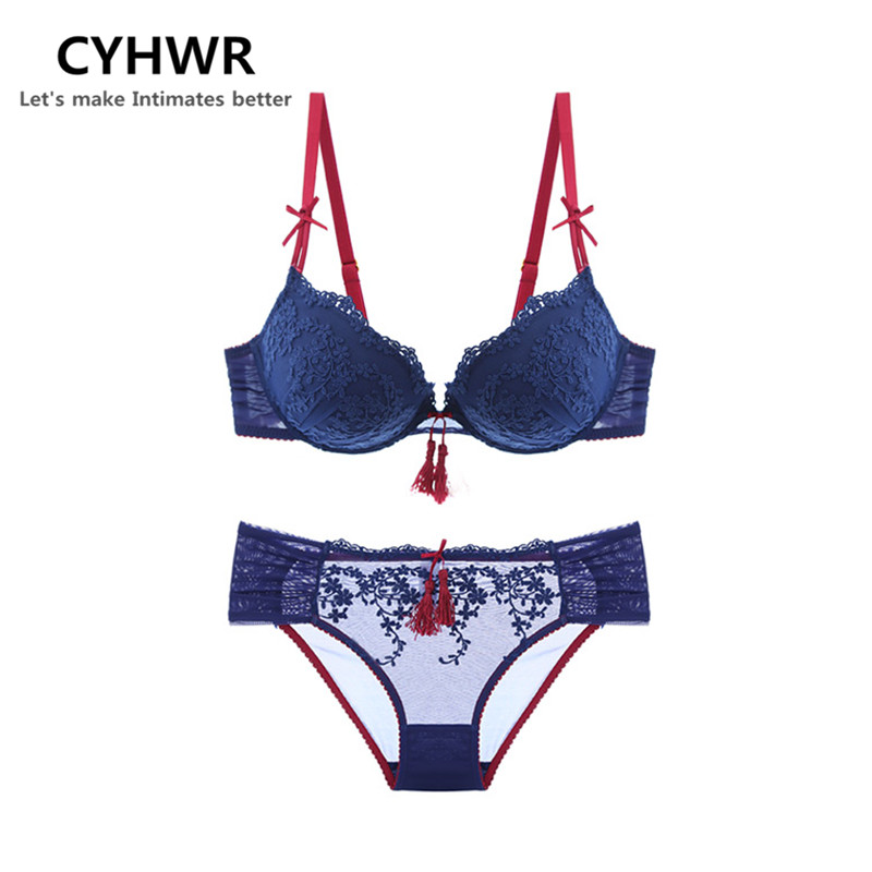 CYHWR Sexy Lace Bow Underwire 3/4 Cup Bra Set Underwear Floral Embroidery Push Up Bra & Brief Set