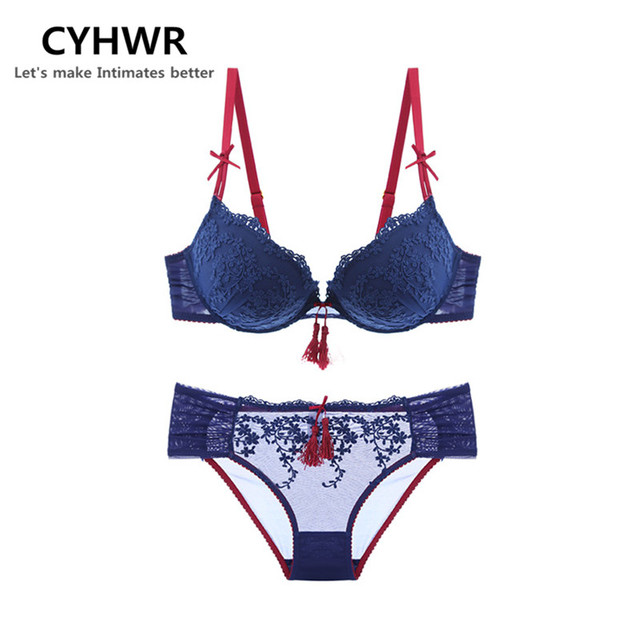CYHWR Sexy Lace Bow Underwire 3 4 Cup Bra Set Underwear Floral Embroidery Push  Up Bra   Brief Set fb860673f