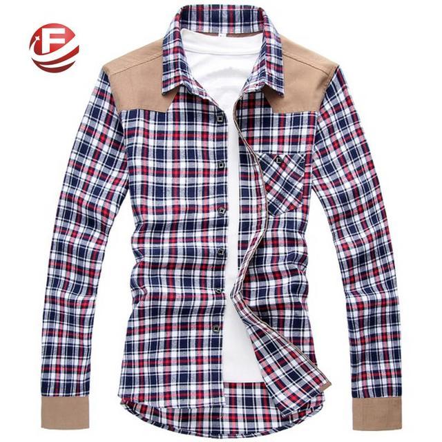 Style Coreen Hommes Slim Chemises A Carreaux A Manches Longues