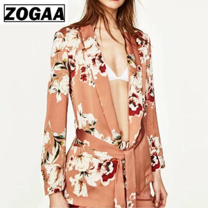 ZOGGA 2019 Floral Printed None Button Fashion Blazer Feminino High-quality Polyester Fabric Women's Blazers Anti-pilling/shrink