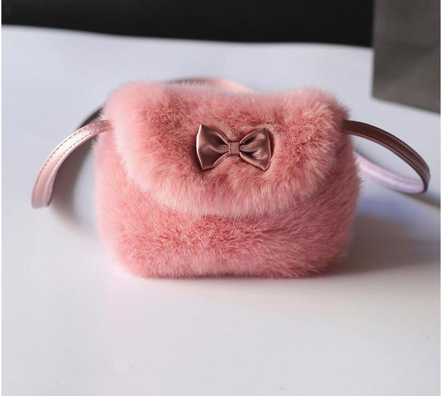 Faux fur plush women coin purses wallets mini shoulder crossbody messengers bags female small pouch for kindergarten baby girls