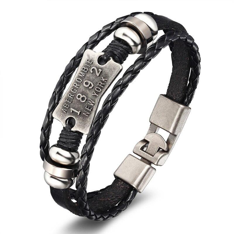 18 New Fashion 3 layer Leather Skull Bracelets&Bangles Handmade Round Rope Turn Buckle Bracelet For Women Men Charm bracelet 15