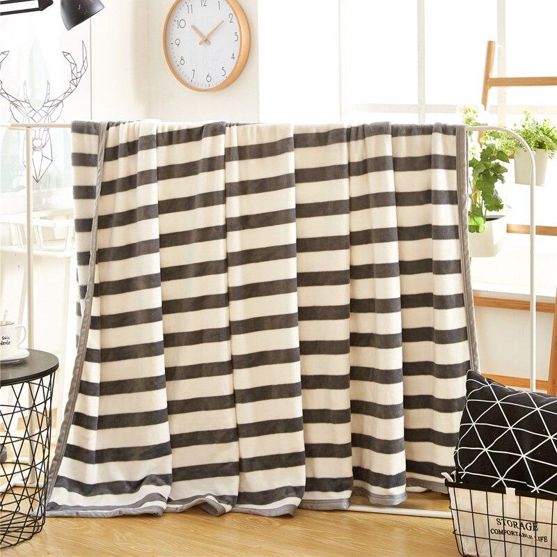 svetanya 320g couverture polaire literie canap jette plaid drap couvre lit gris blanc rayures - Plaid Canape