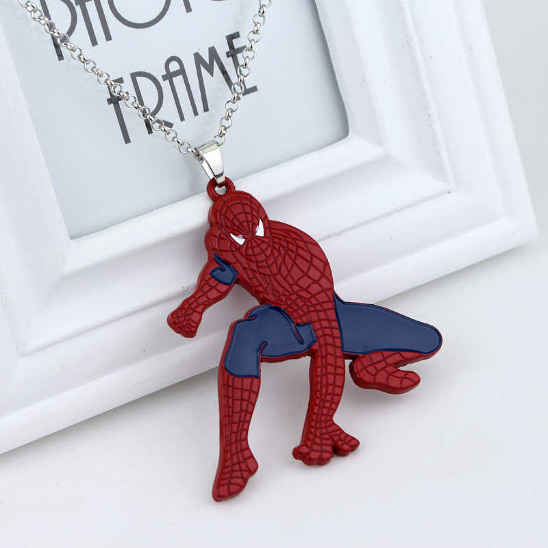 Super Hero Spiderman Pendant Necklace Spider-man Fashion Punk jewelry For Boy Man Kid Party Favors Alloy Big Statement Necklace
