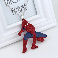 Super Hero Spiderman Pendant Necklace Spider-man Fashion Punk jewelry For Boy Man Kid Party Favors Alloy Big Statement