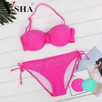 VSHA Sequins Stars Bikinis Pink Swimsuit Women Summer Sexy Swimwear Brazil Model Green Bikini Two Piece