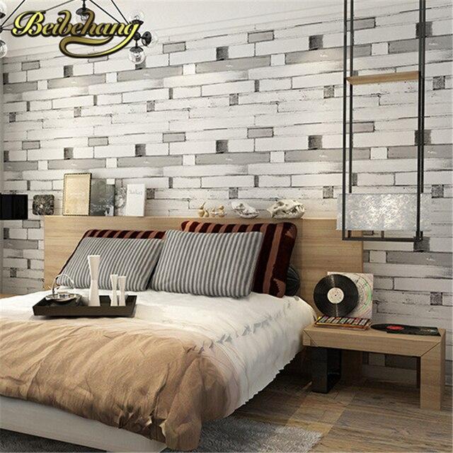 Beibehang 3D Tapete PVC Wand Papier Holz Ziegel Stein Designs Wand Abdeckt  Streifen Muster Papel De
