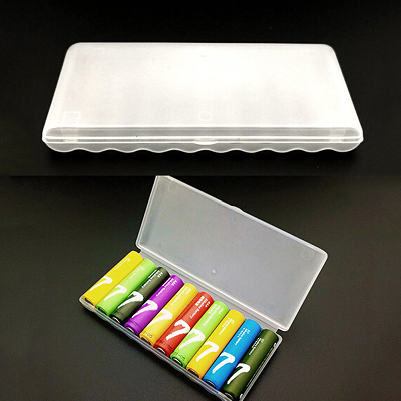 1pc Portable Plastic Battery Case Cover Holder Storage Box For 10pcs AAA Batteries