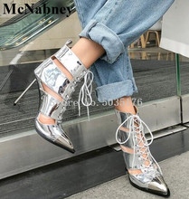 2019 Summer New Sexy Pointed Toe Metal Decorative Hollow Cross Straps Boots Lace-Up Ankle Strap White Simple Trend Women Shoes