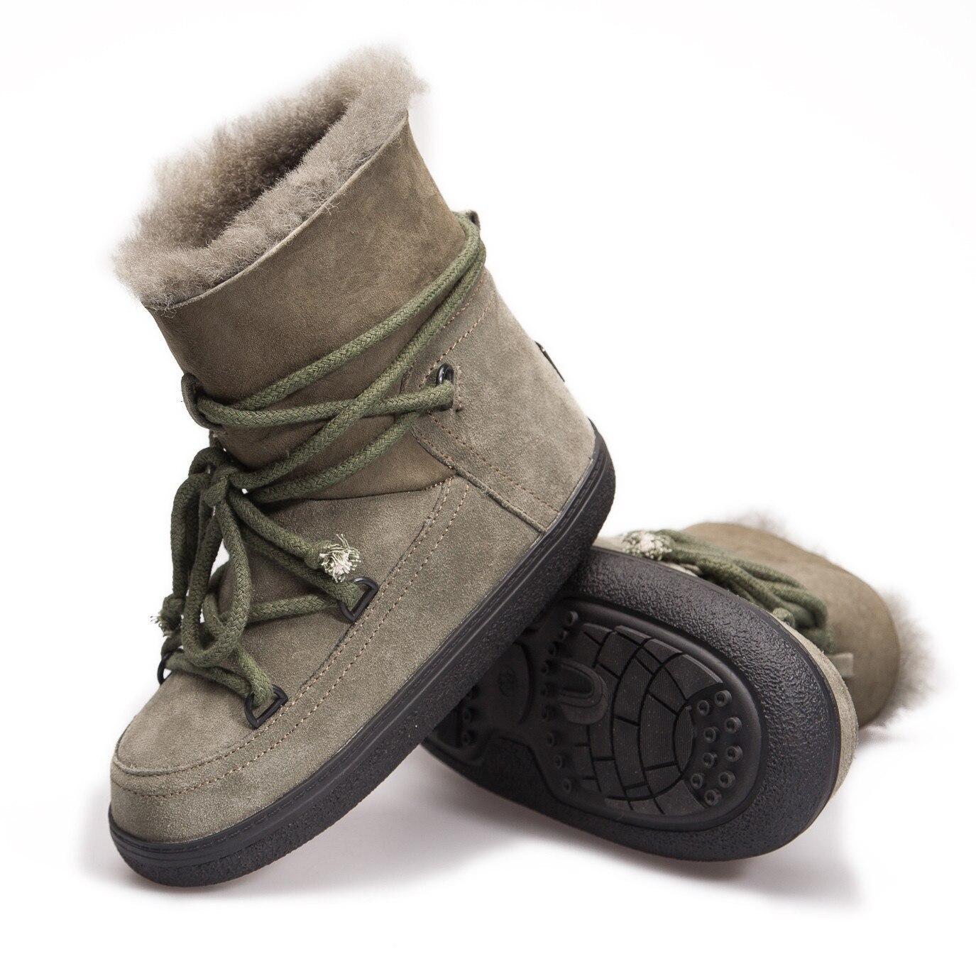 Green Cuero Calidad Mujeres Alta Lana Invierno Zapatos De Botas Mujer La  Las Moda Genuino army Cuculus Para grey Nieve ... 0e2185bebc76