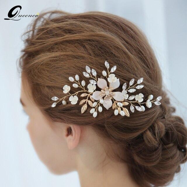 Queenco Elegant Fl Leaf Bridal Hair Comb Pearl Clips Wedding Accessories Hairpins Party