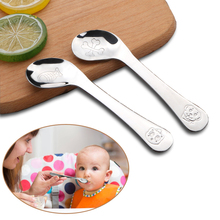 KIFICI Baby Feeding Spoon Stainless Steel Solid Supplies Curved Lond Handle Children Tableware Lovely Gifts For Kids
