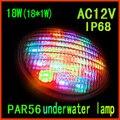 Подводная Светодиодная лампа для бассейна  18 Вт (18*1 Вт)  одноцветная Светодиодная лампа для бассейна  точечная лампа  входное напряжение  AC12V ...