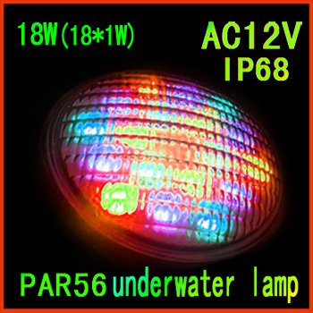 Underwater LED Pool Light 18W(18*1W) Single Color LED Swimming Lamp Spot Lamp Input Voltage AC12V PAR56 LED Pool Lamp IP68