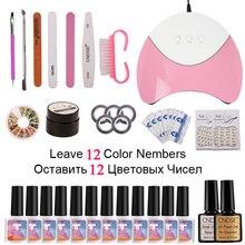 CNDSE Nail Art Pro DIY Full Set Soak Off UV Gel Polish Manicure set 6W Curing Lamp Kit any 12colors&base top Set nail gel недорго, оригинальная цена